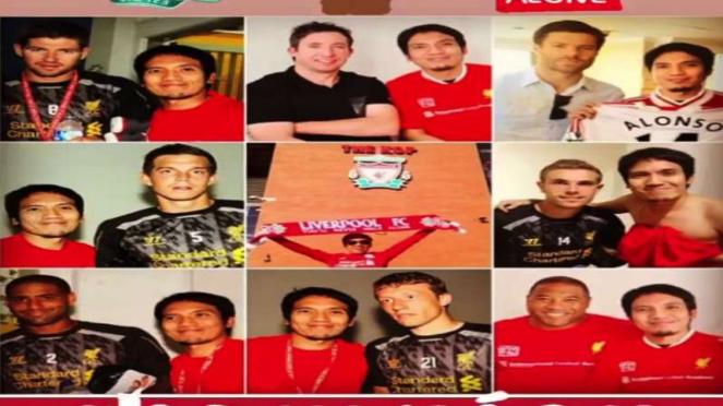 Desta berfoto dengan pemain Liverpool