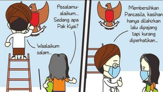 Komik Pancasila (Sumber/Twitter/@KomikPakKyai)