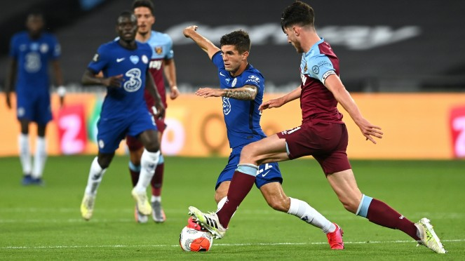 Gelandang Chelsea, Christian Pulisic, saat duel vs West Ham United