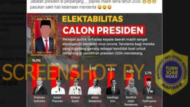 Beredar info yang menyebut masa jabatan presiden diperpanjang.