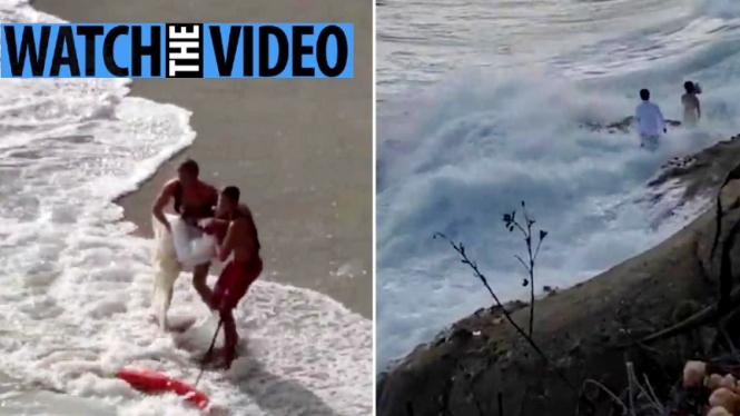 Dramatis, pasangan yang berfoto prewedding tersapu ombak besar di California