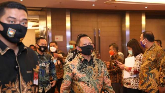 Mendagri Tito Karnavian di Medan, Sumut, Jumat, 3 Juli 2020.