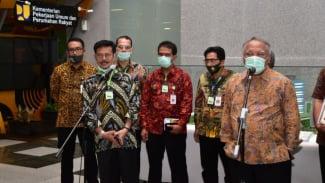 Menteri Pertanian, Syahrul Yasin Limpo saat bertemu Menteri PUPR, Basuki