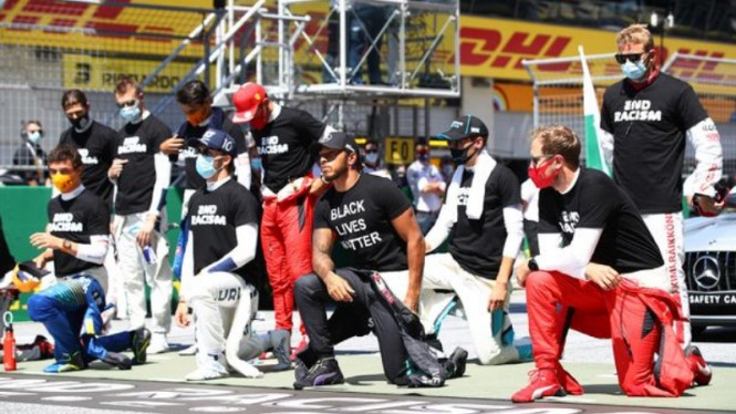 Aksi berlutut para pembalap F1 jelang GP Austria