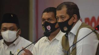 Kepala BNPB Doni Monardo dalam konferensi pers di Ternate, Maluku Utara, Senin, 6 Juli 2020.