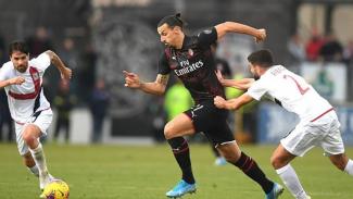 Zlatan Ibrahimovic saat menghadapi Cagliari