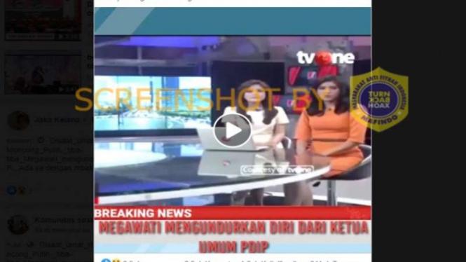 Hoax breaking news Megawati mundur dari ketua umum PDIP