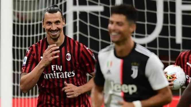 Zlatan Ibrahimovic (AC Milan) dan Cristiano Ronaldo (Juventus).