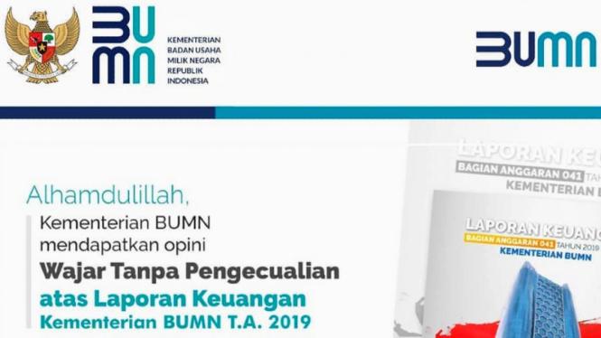 Laporan Keuangan 2019 Kementerian BUMN mendapat opini Wajar Tanpa Pengecualian