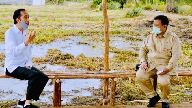 Presiden Jokowi dan Menhan Prabowo Subianto di Kalimantan Tengah