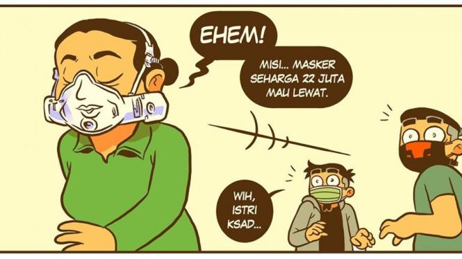 Komik Istri KSAD pakai masker (Facebook/KosumKomik)
