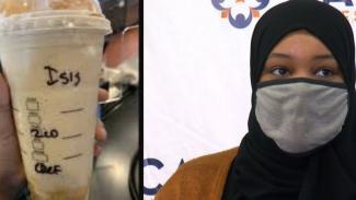 Gelas bertuliskan ISIS dan wanita berhijab.