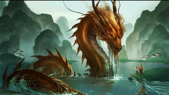 Ilustrasi naga sedang mandi di sungai