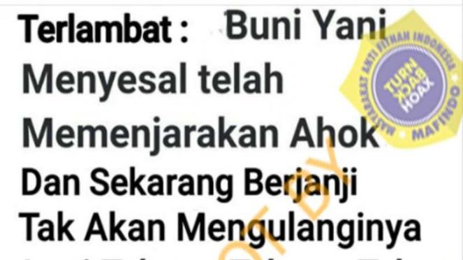 Hoax Buni Yani menyesal penjarakan Ahok