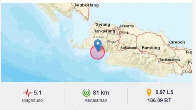 Gempa Magnitudo 5,1 Guncang Bayah, Banten.