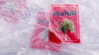 Barang bukti sabu dalam bungkus plastik bercap tulisan Arab