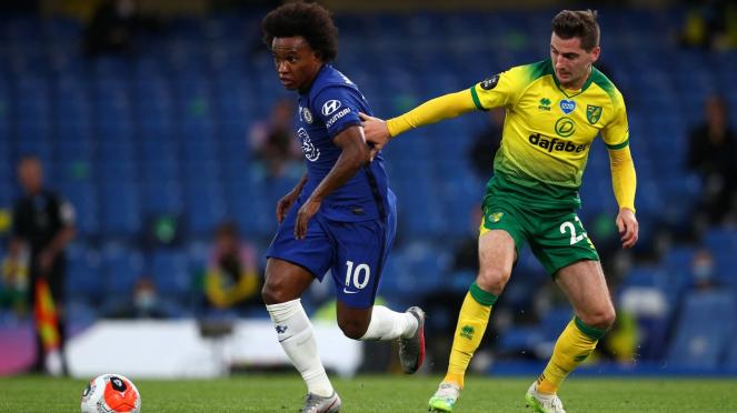 Winger Chelsea, Willian, dalam duel kontra Norwich City
