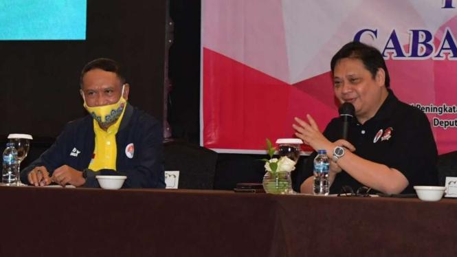 Ketua PB WI, Airlangga Hartarto dan Menpora Zainudin Amali