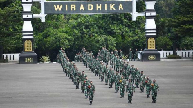 Prajurit TNI-AD di Secapa AD, Bandung, Jawa Barat.