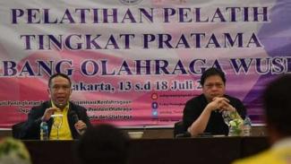 Ketua PB WI, Airlangga Hartato dan Menpora Zainudin Amali