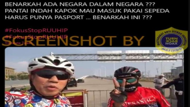 Hoax pesepeda masuk Pantai Indah Kapuk harus pakai paspor