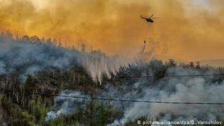 Kebakaran hutan di wilayah Siberia, Rusia.