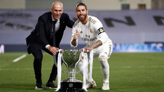 Kapten Real Madrid, Sergio Ramos bersama Zinedine Zidane