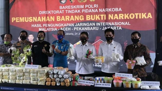 Pemusnahan barang bukti narkoba di Bareskrim Polri