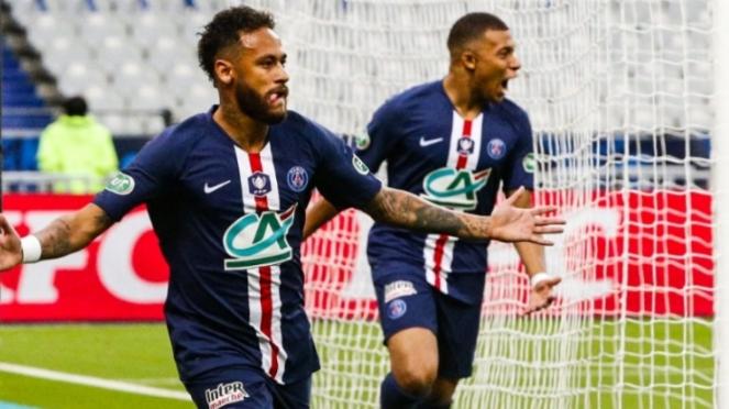 Pemain PSG, Neymar dan Kylian Mbappe.