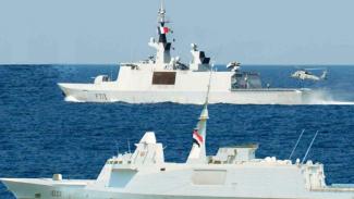 VIVA Militer: Foto kapal perang Mesir dan Prancis yang disiarkan Kemenhan Mesir.
