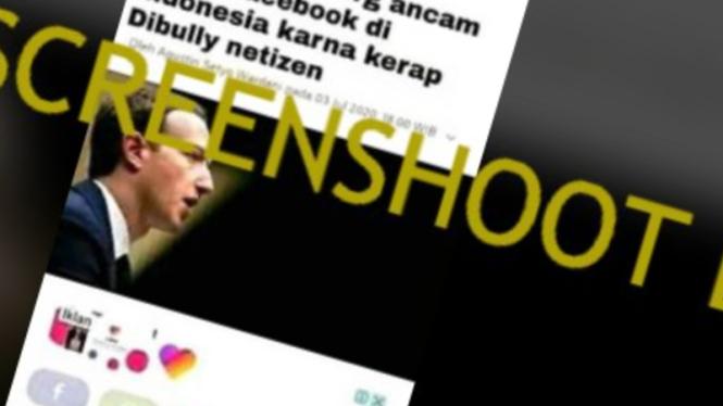 Tangkapan layar (screenshot) akun Facebook yang mengunggah gambar hasil manipulasi yang memperlihatkan foto wajah Mark Zuckerberg, pendiri Facebook.
