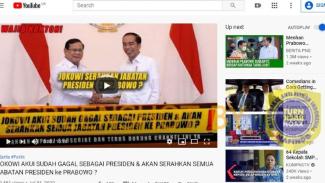 Tangkapan layar (screenshot) sebuah video yang memperlihatkan foto Joko Widodo dan Prabowo Subianto berjabat tangan.