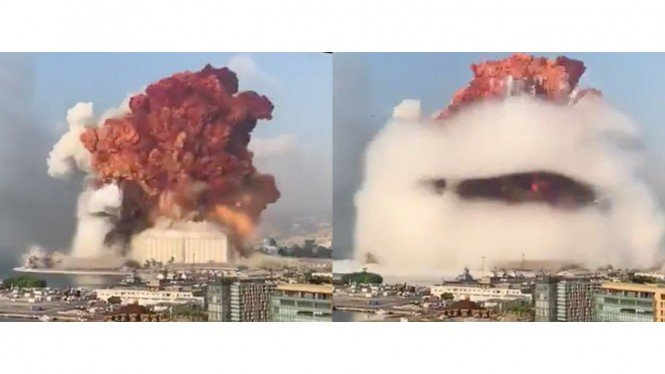 Awan berbentuk jamur akibat ledakan dahsyat di Beirut, Lebanon.