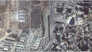 Beirut Lebanon usai ledakan dahsyat.