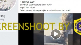 Tangkapan layar (screenshot) sebuah akun Facebook yang mengunggah video rekaman peristiwa ledakan di kota Beirut, Lebanon.