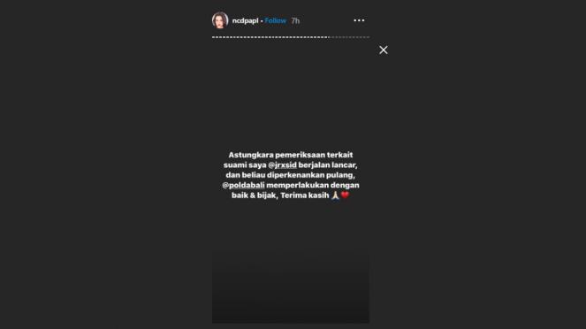 Instagram story istri Jerinx, Nora Alexandra.