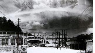 Ilustrasi ledakan akibat bom atom.