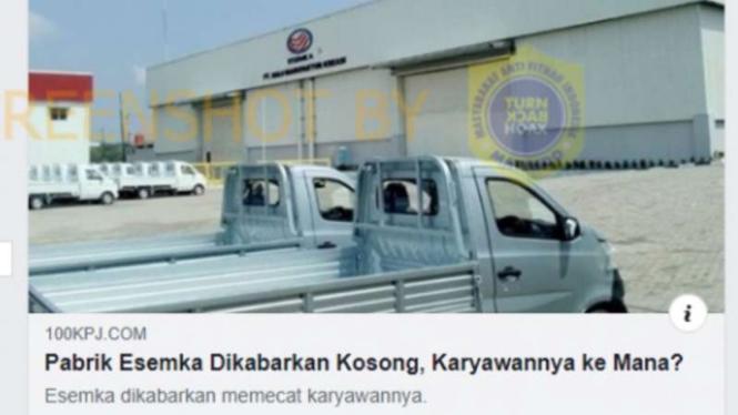 Tangkapan layar (screenshot) artikel berita tentang kabar pabrik mobil Esemka dari media daring 100kpj.com pada satu akun grup Facebook.