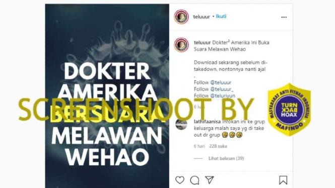 Tangkapan layar sebuah akun Instagram yang mengunggah video tentang klaim seorang dokter Amerika Serikat bahwa COVID-19 sudah ada obatnya.
