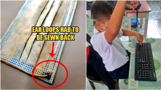 Seorang siswa di Malaysia harus masuk sekolah membawa masker yang sudah rusak