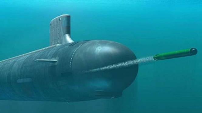 VIVA Militer: Ilustrasi kapal selam Rusia meluncurkan torpedp VA-111 Shkval