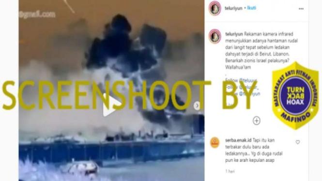 Video yang diklaim ada rudal sebelum ledakan Beirut, Lebanon.