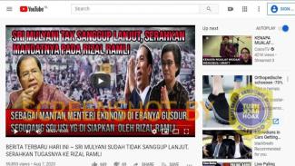 Video hoax yang menyebut Sri Mulyani serahkan mandat ke Rizal Ramli