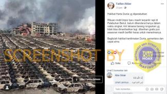 Hoax foto ribuan mobil impor hangus akibat ledakan di Beirut