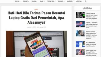 Tangkapan layar (screenshot) sebuah laman yang memperingatkan masyarakat agar berhati-hati jika menerima pesan berantai tentang program laptop gratis untuk para siswa dan guru.