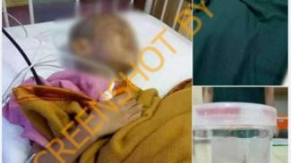 Tangkapan layar (screenshot) foto yang memperlihatkan seorang anak sedang dirawat dan diklaim mengalami pengecilan otak gara-gara radiasi sinar ponsel.