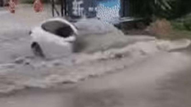 Tesla Model 3 dipaksa menerjang banjir