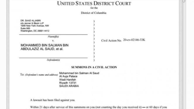 VIVA Militer: Surat pemanggilan MBS dari Pengadilan Amerika.