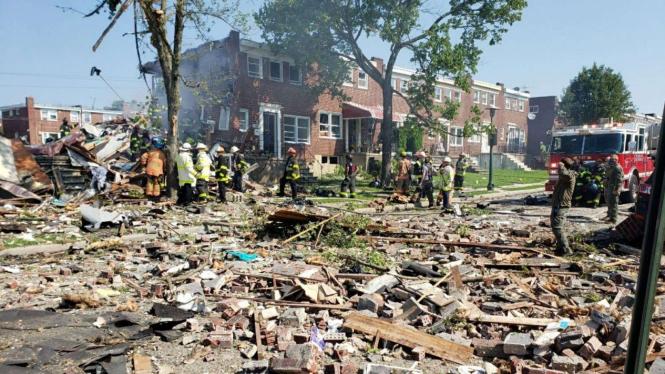 Ledakan gas di Baltimore, AS.