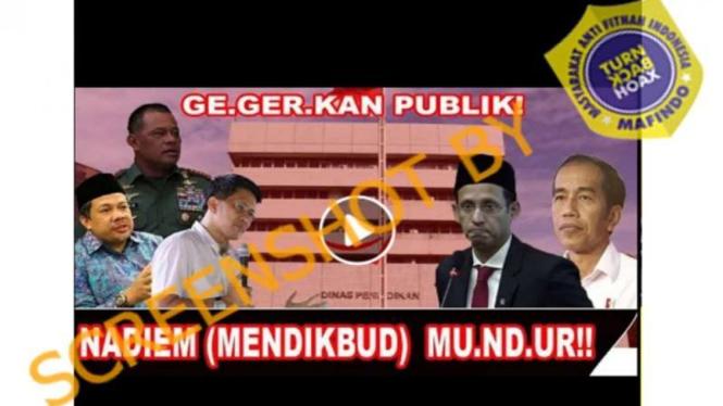 Video hoax Nadiem Makarim mundur dari Mendikbud